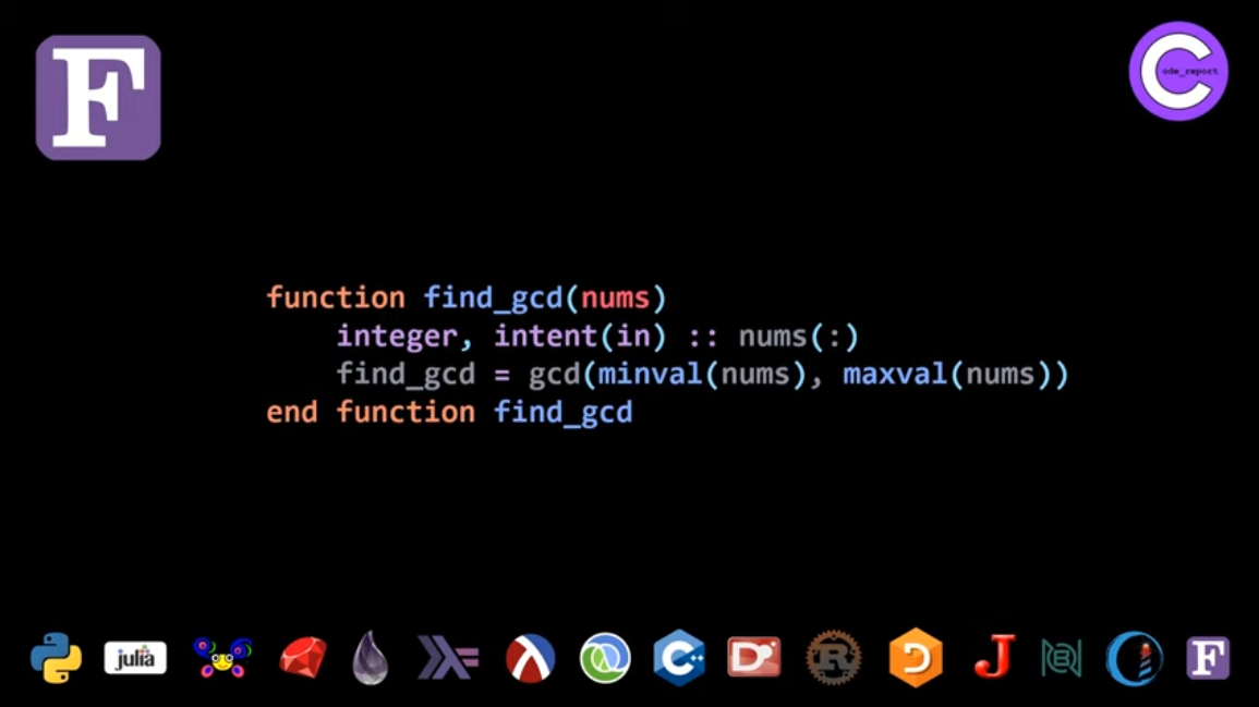 Fortran (second GCD function code) solution for LeetCode problem by Code_Report on YouTube (screenshot from video)