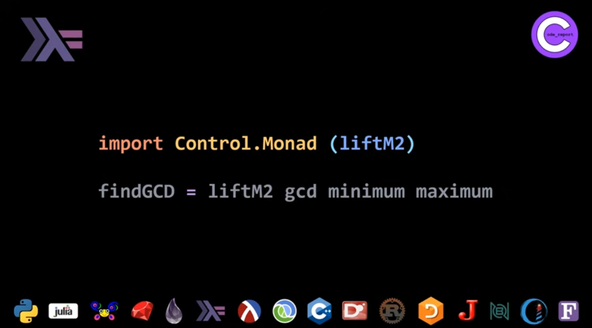 Haskell GCD solution for LeetCode problem by Code_Report on YouTube (screenshot from video)