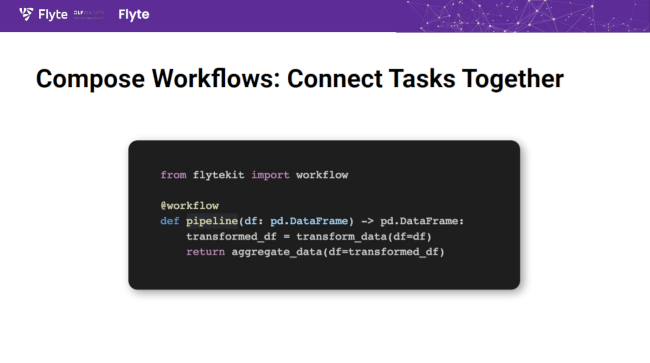 Flyte tasks can chained together into functions.