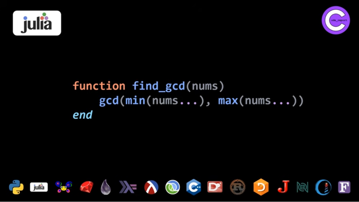 Julia GCD solution for LeetCode problem by Code_Report on YouTube (screenshot from video)