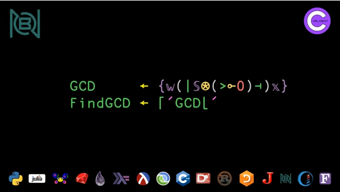 BQN programming language GCD solution for LeetCode problem by Code_Report on YouTube (screenshot from video)