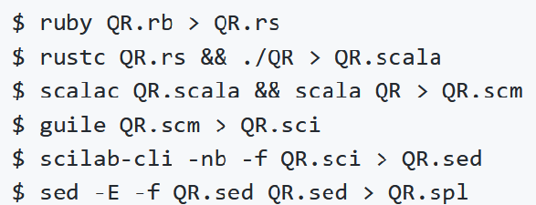 Some of the command lines for Yusuke Endoh 128-language quine relay