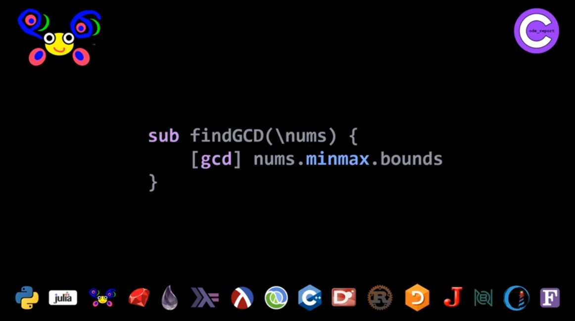 Raku GCD second solution for LeetCode problem by Code_Report on YouTube (screenshot from video)