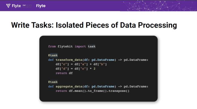 In Flyte you build data processing tasks....