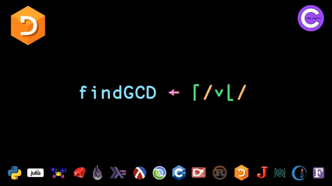 APL programming language GCD solution for LeetCode problem by Code_Report on YouTube (screenshot from video)