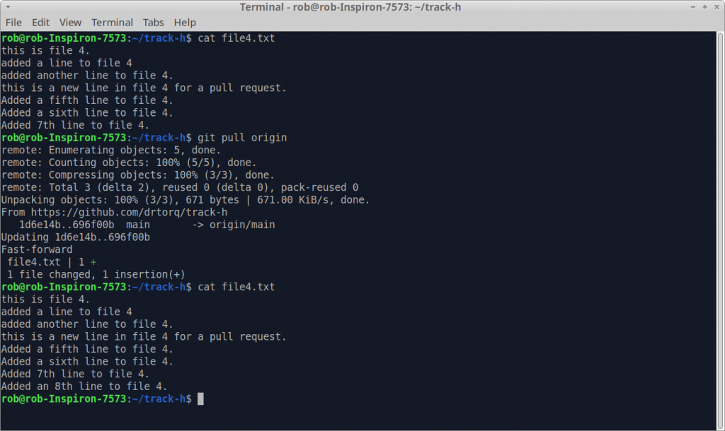 A screenshot of a git pull request from the command line.